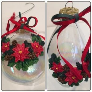 Two Crystal Poinsettia Ornaments w Box